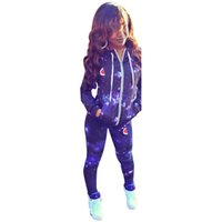Wholesale sky cycling online - Women Fashion Hooded Tracksuit Sexy Stars Sky Print Hooded Sports Wearing Hoodies Coats Pants Piece Set Outfit Womens Sweat Suits