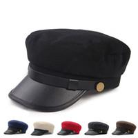 ingrosso cappelli delle donne britanniche-Donna primavera e inverno Caps Souvenir British Style Navy Cap Progettista Studente Hat Hot Sale 16dt Ww