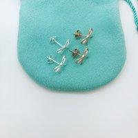 gold bogen charme armband großhandel-Frau Sterling Silber Ohrring Frauen asymmetrische Bogen Armband Schmuck-Set Mode amerikanische Marke Hochzeit hohle Halskette