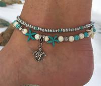 boncuk sandaletleri toptan satış-Kaplumbağa Kolye Halhal Boncuk Denizyıldızı Halhal Kadınlar Için Vintage Yalınayak Sandalet Bildirimi Bilezik Ayak Boho Takı