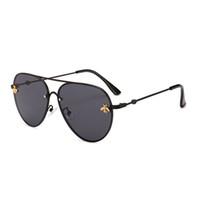 erkek moda tasarımı toptan satış-Marka tasarım Güneş Gözlüğü kadın erkek retro Marka tasarımcısı Kaliteli Moda metal Boy güneş gözlüğü bağbozumu kadın erkek UV400