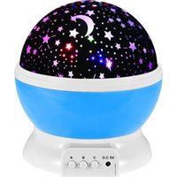 Wholesale Romantic Led starry sky Night Lamp Rotating Starry Star Moon Sky Rotation Night Lighting Projector Lamp Kids Children Baby Sleeping Lights