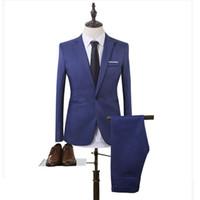 erkekler rahat dü ün pantolon toptan satış-Yeni artı boyutu 6xl erkek takım elbise düğün damat kaliteli rahat erkekler elbise takım elbise 2 parça (ceket + pantolon)