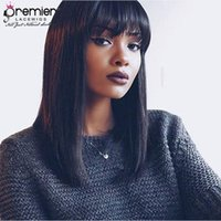 Wholesale yaki human hair wigs bangs for sale - PREMIER Lace Frontal Wigs Brazilian Hair Wigs Yaki Straight With Bangs Density Human Lace Wigs