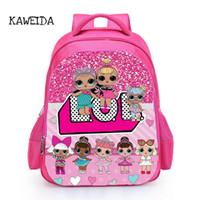 печать с блеском оптовых-Дети ЛОЛ кукла школьная сумка розовый Лол домашние куклы блеск серии 4 книги сумки рюкзак для девочек милый обычай имя напечатаны школьный мешок Великобритании Y18110107