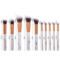 Wholesale eyebrow concealer - 10pcs set Marble Makeup Brushes Blush Powder Eyebrow Eyeliner Highlight Concealer Contour Foundation Make Up Brush Set