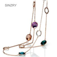 Wholesale long agate pendant resale online - Sinzry New Luxury Jewelry Rose Gold Color Austria Crystal Long Sweater Necklaces Fashion Multicolor Crystal Jewelry