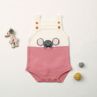 Wholesale adorable baby clothing resale online - Baby Girls Summer Clothes Adorable Mouse Knitted Newborns Boys Bodysuits Toddler Infant One Piece Overalls Children Costume Soft