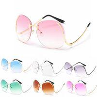 Wholesale sports optics - Women Big Optics Glasses Diamond Cut Lens Fashion Elegant Oversized Rimless Gradient Sunglasses 10 color EEA76