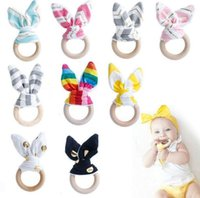 Wholesale toy train wholesale - Wooden Teether INS Baby Wood Circle With Rabbit Ear Fabric Newborn Teeth Practice Toys Training Ring KKA4088