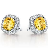 cut diamonds 2018 - Sterling Silver Stud 925 2 CT  Piece Cushion Cut Yellow SONA Simulate Diamond Wedding Earrings Stud Best Jewelry Gift For Girl