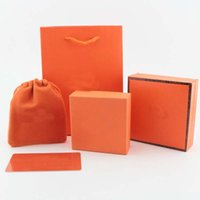 Wholesale velvet jewelry bags boxes - 2018 Orange color New arrival Brand name top quality box set handbag velet bag jewelry packing free shipping PS6804
