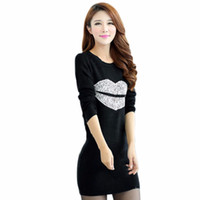 целую красные сексуальные губы оптовых-Autumn Women Long Sleeve Sweatshirts Sexy Kiss Lips Printed Parten Pullovers Solid White Black Red