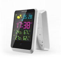 übergroße glocken großhandel-Digital-Wecker mit Datum / Wetter / Zeit / Temperatur / Feuchtigkeit mit drahtlosem Sensor US-Stecker