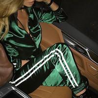 fato verde completo venda por atacado-2 Two Piece Set Treino Mulheres Outono Casaul Verde Hoodies Casaco de Manga Longa Top E Cintura Elástica Calça Completa Calças Listrado