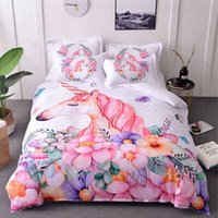 Wholesale horse bedding sets full size for sale - Unicorn Bedding Sets Queen Size Watercolor Printed Bed Set Girl Flower Duvet Cover Colored King Size Animal Horse Cute Bed Cover