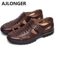 Wholesale shoes cutouts resale online - Casual summer male leather sandals hole cutout shoes man leather sandals cool leather shoes
