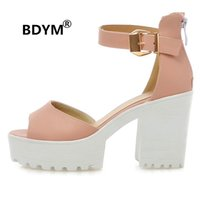 Wholesale Pink Platform Sandals - BDYM 2018 Candy Ankle Wrap Peep Toe Ladies Sandal Sexy Platform Super High Heels Women party date Chunky Sandal Size 34-43