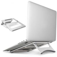 держатели книжных подставок оптовых-Ноутбук Стенд Портативный Планшет Держатель Алюминиевый Ноутбук Стенды Для MacBook Air Mac Book Pro 120 Градусов Tablet Mount Soporte