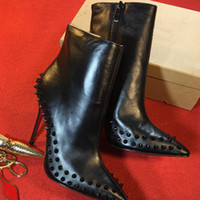 Wholesale spring shoes sexy for sale - Women designer Boot Red Bottom High Heels Rivets Studded Shoes Sexy Spikes Boots Women black high heels ankle boots cm Winter shoes w1