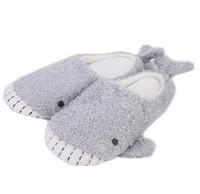 japanische flache baumwolle großhandel-Nette Wal-Plüsch-Pantoffel-japanischer Mädchen-Plüsch-Haifisch-weicher unterer Innenhauptflacher Boden-Baumwollpantoffel