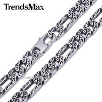 Wholesale mens necklace length - Trendsmax Custom Any Length 10mm Heavy Figaro Animal Skin Mens Chain Boys Necklace Silver Tone 316L Stainless Steel HN34