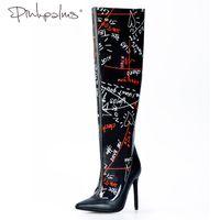 на коленях розовые сапоги оптовых-Розовые ладони обувь женщины черный основные сапоги весна осень высокий каблук Перспекс водонепроницаемая обувь ясно ПВХ граффити над коленом сапоги