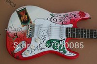 Wholesale electric guitar decals - Free shipping HOT ! High Quality Ameican standard ST Decal Memorial red pattern Electric Guitar in stock