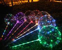 mesa de acrílico laranja venda por atacado-Balões de LED Com Vara Luminosa Brilho De Látex BOBO Balão Crianças Brinquedo Festival de Festa de Aniversário Suprimentos Decorações de casamento Decoração de festa