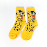 Wholesale oil woman art painting resale online - Male Socks Oil Funny Sock Gogh Mural World Famous Painting Series Fashion Retro Women New Personality Art Sock Man Summer