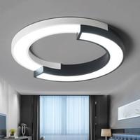 plafonniers modernes ronds achat en gros de-Plafonniers menés modernes pour le salon Plafonnier d'appareils d'éclairage de montage de salon avec la lampe ronde de cuisine à télécommande