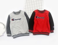Wholesale thick warm long sleeve shirts - 2018 New Baby Sweater Long Sleeve champ T-shirt O Neck Thick Warm Hoodies & Sweatshirts Spring Autumn Children Clothes