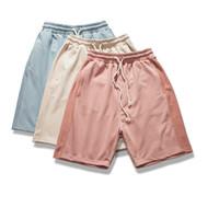 cintura alta calças cáqui venda por atacado-Moda Praia Verão Kanye West Calças Curtas Hip Hop Shorts de Cintura Alta Harem Sweat Cáqui M-XL