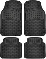 siyah lastik paspaslar toptan satış-Araba Paspasları Tüm Hava Kauçuk 4 adet Set Yarı Özel Fit Ağır Siyah