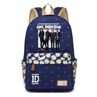 Wholesale 1d direction - WISHOT One Direction 1D Backpack shoulder Travel Bag for teenagers girls women Canvas dot school bag