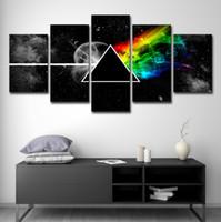 carteles de musica rock al por mayor-Wall Art Poster Lienzo Impresiones HD Pinturas 5 Unidades Pink Floyd Rock Music Pictures Home Decor For Living Room