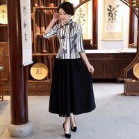 юбка qipao оптовых-New Summer Womens Blouse Skirt Sets Traditional Chinese style 2pc Shirt Mandarin Collar Cheongsam Qipao Dress Size S-XXXL 9960