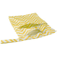 ingrosso sacchetti di pannolini gialli-Borsa per pannolini impermeabile in pannolini per bambini Borsa per pannolini lavabile riutilizzabile, doppia cerniera (giallo + bianco, motivo ondulato)