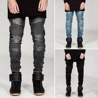 Wholesale jeans large hip hop - Men's Skinny Wrinkles Large Size BLM Locomotive Jeans Men Jeans Europe and the United States Style Street Hip-Hop Fashion Brand Men Cool