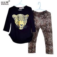 ingrosso gilet leggings in tigre-Bibihou 2-10T Bambini Ragazze T-shirt a pipistrello tigre Leopardo Leggings stretti Pantaloni 2 pezzi Abbigliamento bambino Set di vestiti morbidi per bambini