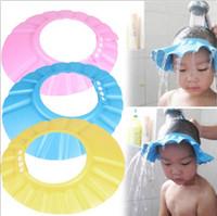 шапочка для душа оптовых-Регулируемая Baby Shower Cap Безопасный Шампунь Душ Ванна Защитить Мягкую Крышку Baby Мыть Волосы Щит Дети Купания Hat