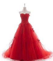 платья из красного шарика оптовых-Красный бальное платье свадебное платье развертки поезд плюс размер свадебные платья свадебные платья милая рукавов кружева-up назад тюль складки кружева