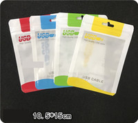 Wholesale retail package universal packing packaging online - 10 cm Clear White Plastic Poly Bags OPP Packing Zipper Lock Package Accessories PVC Retail Boxes Handles for USB Cable