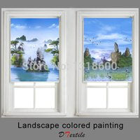 Wholesale roller shade fabrics for sale - Group buy Landscape colored painting Window shaded fabric Roller blinds of