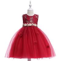 Wholesale toddlers pictures for sale - Flower Girl Dresses Summer Cheap Red Tulle Dress for Children Kids Formal Toddler Kids Wedding Tutu Dress