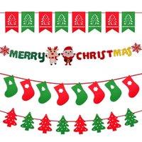 bandeira da decoração do aniversário venda por atacado-Decorações de natal Pingente de Natal cervos Elk puxar bandeira bunting enfeites de aniversário Bandeira de layout de cena festiva bandeira oco a laser