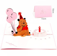 Discount post invitations - 3D pop up Birthday Bear Baby greeting card Invitation card laser cutting envelope postcard hollow carved handmade kirigami gifts