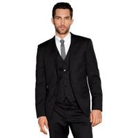 mens corbatas de desgaste formal al por mayor-Por encargo, dos botones, hombres negros, novios, trajes de novios, trajes formales, trajes de negocios para hombre, trajes de novio (chaqueta + pantalón + chaleco + corbata)