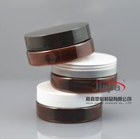 Wholesale bottles up for sale - Group buy 50 grams brown PET Jar Cosmetic Jar g brown Bottle with clear white black PP Lid Make up Packaging Beauty Salon Equipment