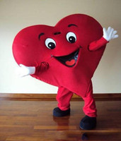 Wholesale mascot costume wedding - Factory direct sale Love Red Heart Mascot Costume Halloween Wedding Party red heart cartoon Costume Fancy Dress Adult Children Size